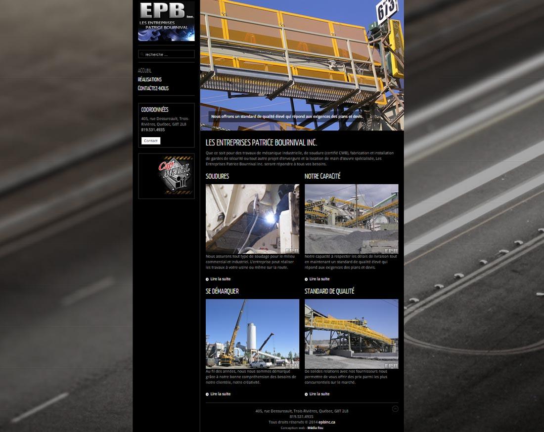 epbinc.ca. une réalisation web de Média Fou